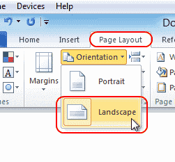 How to make one page landscape