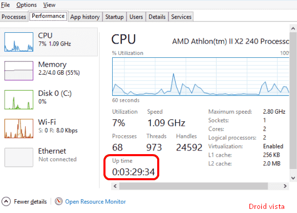 windows 10 uptime