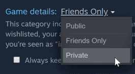 steam hide games from profile