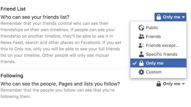 how to hide friends list on facebook iphone
