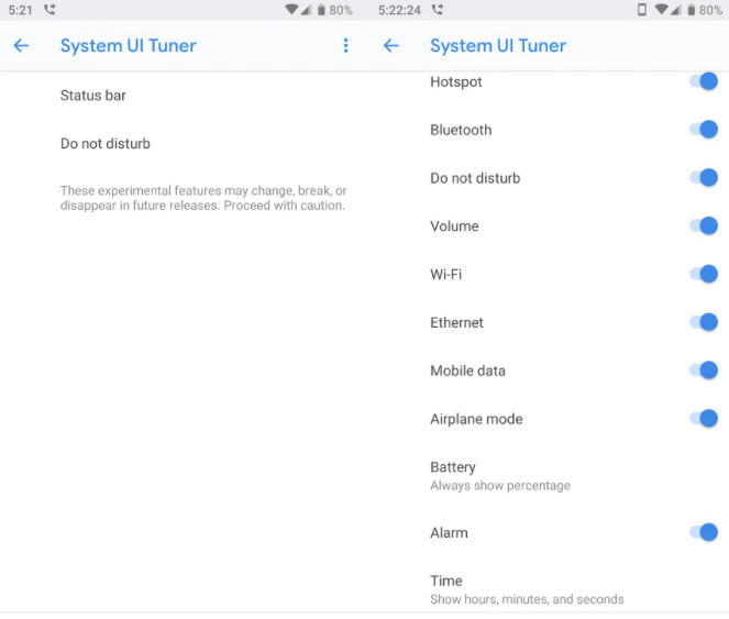 System UI Tuner Android 9