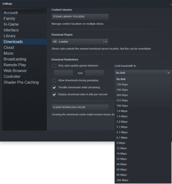 Throttle the Download Speed